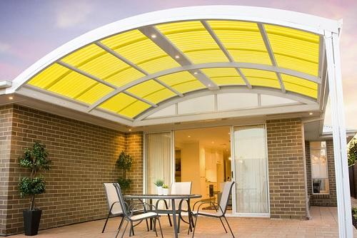 Безопасная прозрачная крыша для террасы из профилированного поликарбоната МП-20 (У)